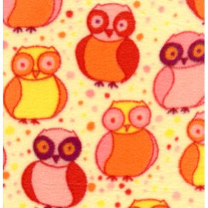 Valori Wells Della Micro Fleece Fabric - Little Owls - Blossom