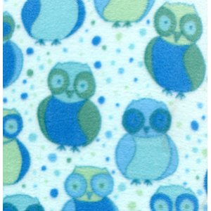 Valori Wells Della Micro Fleece Fabric - Little Owls - Ocean