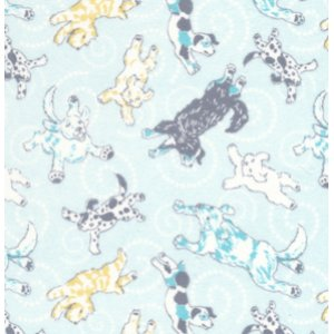 Annette Tatum Soliel Flannel Fabric - Flying Pups - Blue