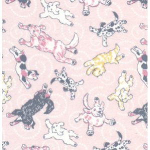 Annette Tatum Soliel Flannel Fabric - Flying Pups - Pink