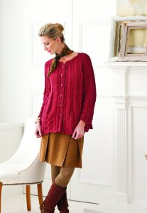 SMC Select Silk Wool Knit Red Leaf Lace Sweater Kit Kit - Women's Cardigans