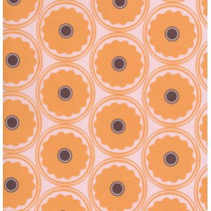 Annette Tatum Mod Fabric - Mod Flower - Papaya