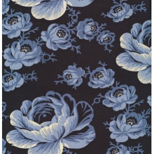 Denyse Schmidt Greenfield Hill Fabric - Preservation Peony - Blueberry