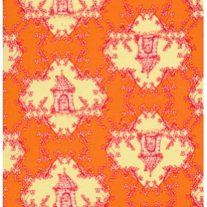 Tina Givens Opal Owl Fabric - Trellis - Orange
