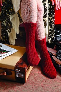 Classic Elite Alpaca Sox Knit Red Lacy Anklets Kit Kit - Socks