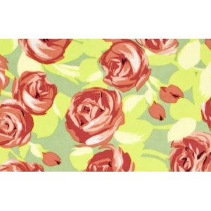 Amy Butler Love Flannel Fabric - Tumble Roses - Tangerine