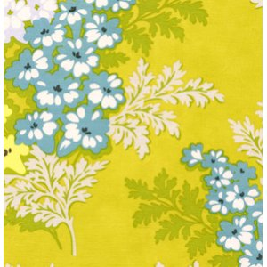 Heather Bailey Nicey Jane Fabric - Picnic Bouquet - Gold