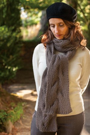 Churchmouse Classics Patterns - Reversible Cable Neck Wrap & Scarf Pattern
