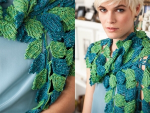 Artyarns Beaded Silk Light Leaf Scarf Kit - Crochet for Adults