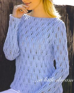 Tahki Cotton Classic Openwork Boatneck Pullover Kit - Women's Pullovers