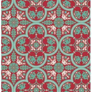 Joel Dewberry Notting Hill Fabric - Historic Tile - Poppy