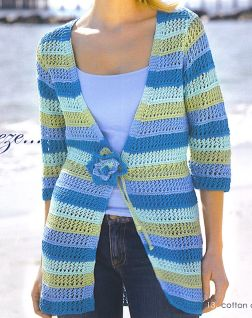 Tahki Cotton Classic Long Striped Cardigan Kit - Women's Cardigans