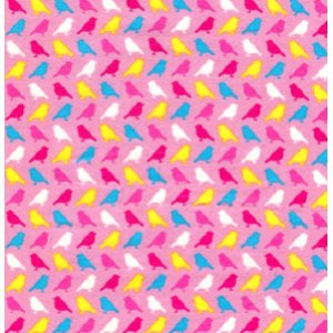 Erin McMorris Irving Street Flannel Fabric - Birds - Pink