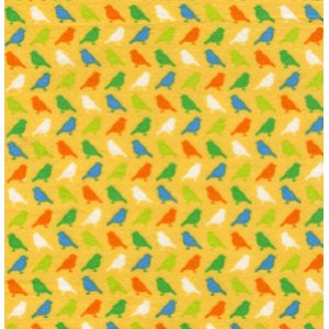 Erin McMorris Irving Street Flannel Fabric - Birds - Yellow