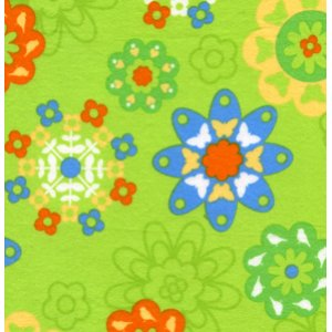 Erin McMorris Irving Street Flannel Fabric - Flower Power - Green