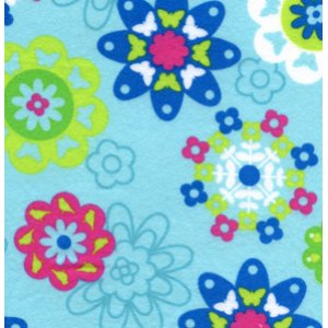 Erin McMorris Irving Street Flannel Fabric - Flower Power - Blue