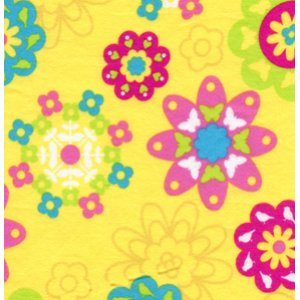 Erin McMorris Irving Street Flannel Fabric - Flower Power - Yellow