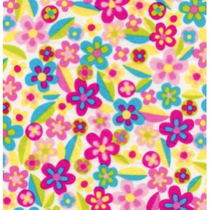Erin McMorris Irving Street Flannel Fabric - Meadow - Pink