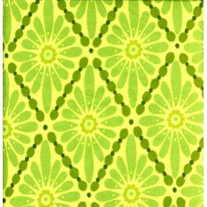 Valori Wells Urban Flannels Fabric - Floral Diamonds - Green