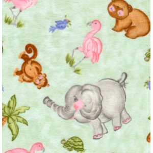 Donna Dewberry Noah's Ark Flannel Fabric - Tossed Animals - Green