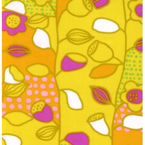 Erin McMorris Wildwood Fabric - Lotus & Leaves - Gold