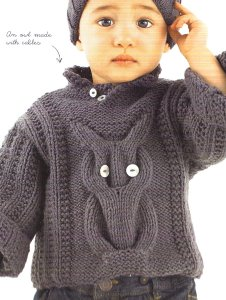 Bergere de France Caline Owl Sweater Kit - Baby and Kids Pullovers