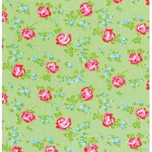 Tanya Whelan Sugarhill Flannel Fabric - Scattered Roses - Green