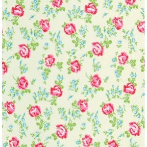 Tanya Whelan Sugarhill Flannel Fabric - Scattered Roses - Ivory