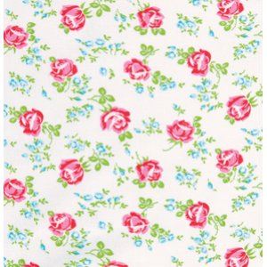 Tanya Whelan Sugarhill Flannel Fabric - Scattered Roses - White