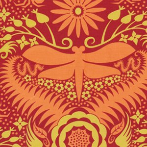 Jane Sassaman Garden Divas Fabric - Lively Silhouette - Orange