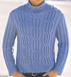 Tahki Cotton Classic Men's Cabled Turtleneck Kit - Mens Sweaters