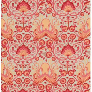 Tula Pink Salt Water Fabric - Octo Garden - Coral