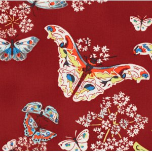 Amy Butler Alchemy Quilt Cotton Fabric - Queen Ann's Butterflies - Ruby