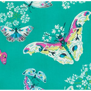 Amy Butler Alchemy Quilt Cotton Fabric - Queen Ann's Butterflies - Topaz