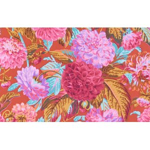 Philip Jacobs Pom Pom Dahlias Fabric - Red