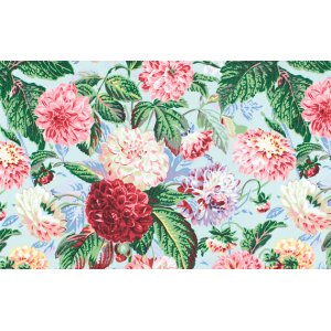 Philip Jacobs Pom Pom Dahlias Fabric - Aqua