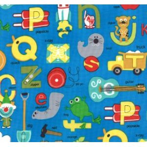 Tim and Beck Apple Jack Fabric - ABC's - Blue (39510 15)