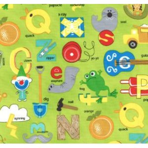 Tim and Beck Apple Jack Fabric - ABC's - Lime (39510 16)