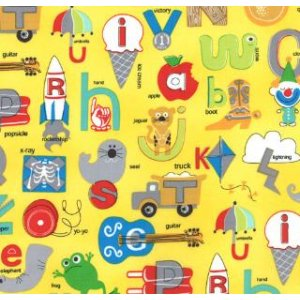 Tim and Beck Apple Jack Fabric - ABC's - Yellow (39510 17)