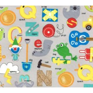 Tim and Beck Apple Jack Fabric - ABC's - Grey (39510 19)