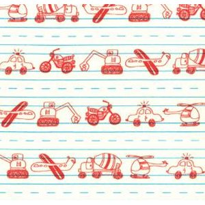 Tim and Beck Apple Jack Fabric - Doodles - Ivory (39512 11)