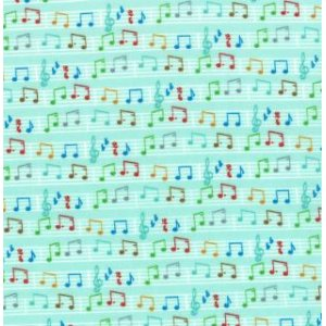 Tim and Beck Apple Jack Fabric - Musical Notes - Aqua (39515 12)