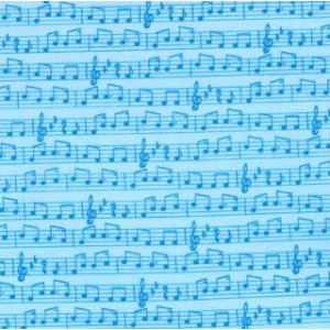Tim and Beck Apple Jack Fabric - Musical Notes - Blue (39515 14)