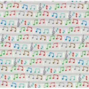 Tim and Beck Apple Jack Fabric - Musical Notes - Grey (39515 19)
