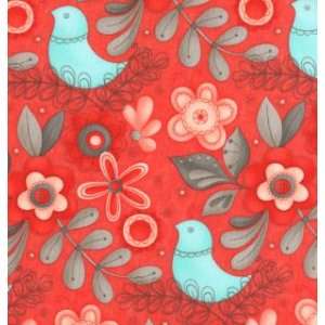 Sandy Gervais Flirt Fabric - Large Floral - Rose Red (17701 12)