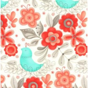 Sandy Gervais Flirt Fabric - Large Floral - White Diamond (17701 13)