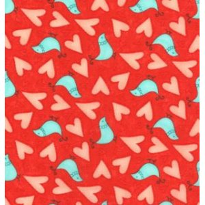 Sandy Gervais Flirt Fabric - Love Birds - Rose Red (17702 12)