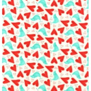Sandy Gervais Flirt Fabric - Love Birds - White Diamond (17702 13)