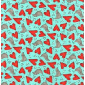 Sandy Gervais Flirt Fabric - Love Birds - Blue Bird (17702 14)