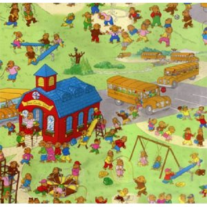 Berenstain Bears Bear Country School Fabric - Playground Scenic - Lime (55510 11)
